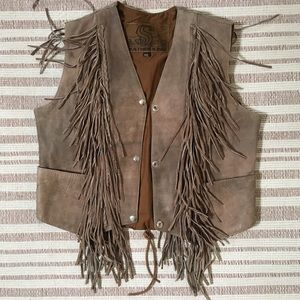 Vintage Leather King Fringed Western Vest Youth XL